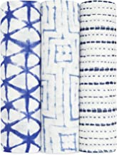 Aden and Anais Indigo Shibori Silky Soft Muslin Swaddles, Multicolour, 3 Count