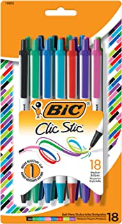 BIC Clic Stic Fashion Retractable Ballpoint Pen, Medium Point (1.0mm), Assorted Colors, 18-Count (CSMAP18)