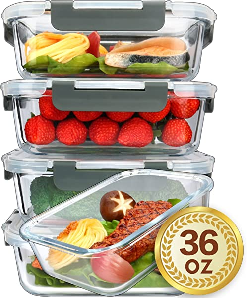 5 Packs 36 Oz Glass Meal Prep Containers With Lifetime Lasting Snap Locking Lids Glass Food Containers Airtight Lunch Container Microwave Oven Freezer And Dishwasher Safe 4 5 Cup