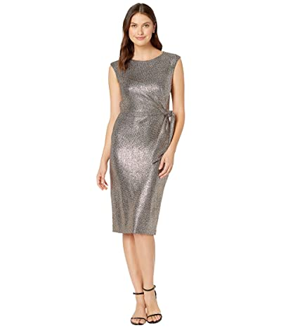 Tahari by ASL Hammered Stretch Metallic Side Tie Dress (Bronze Black) Women