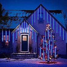 Verbeterde Meteor Shower Rain Lights, 30cm 8 buizen Trapsgewijze ijspegelslingers, trapsgewijze regenlichten voor bruiloft...