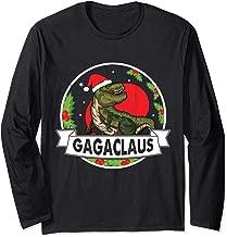 Dinosaur Santa Claus With Big Xmas Present Gaga Claus Merry Long Sleeve T-Shirt