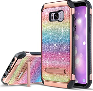 UARMOR Phone Case for Samsung Galaxy S8, Luxury Glitter Bling Rugged Shockproof Dirtproof Stand Hybrid Slim Sparkly Shiny Faux Leather Chrome Hard Case Cover, Rainbow
