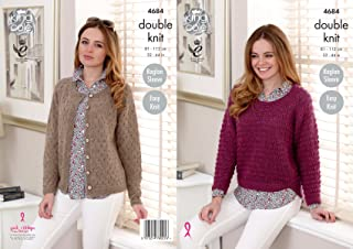 Womens Sweater /& Cardigan Double Knitting Pattern King Cole DK 4262