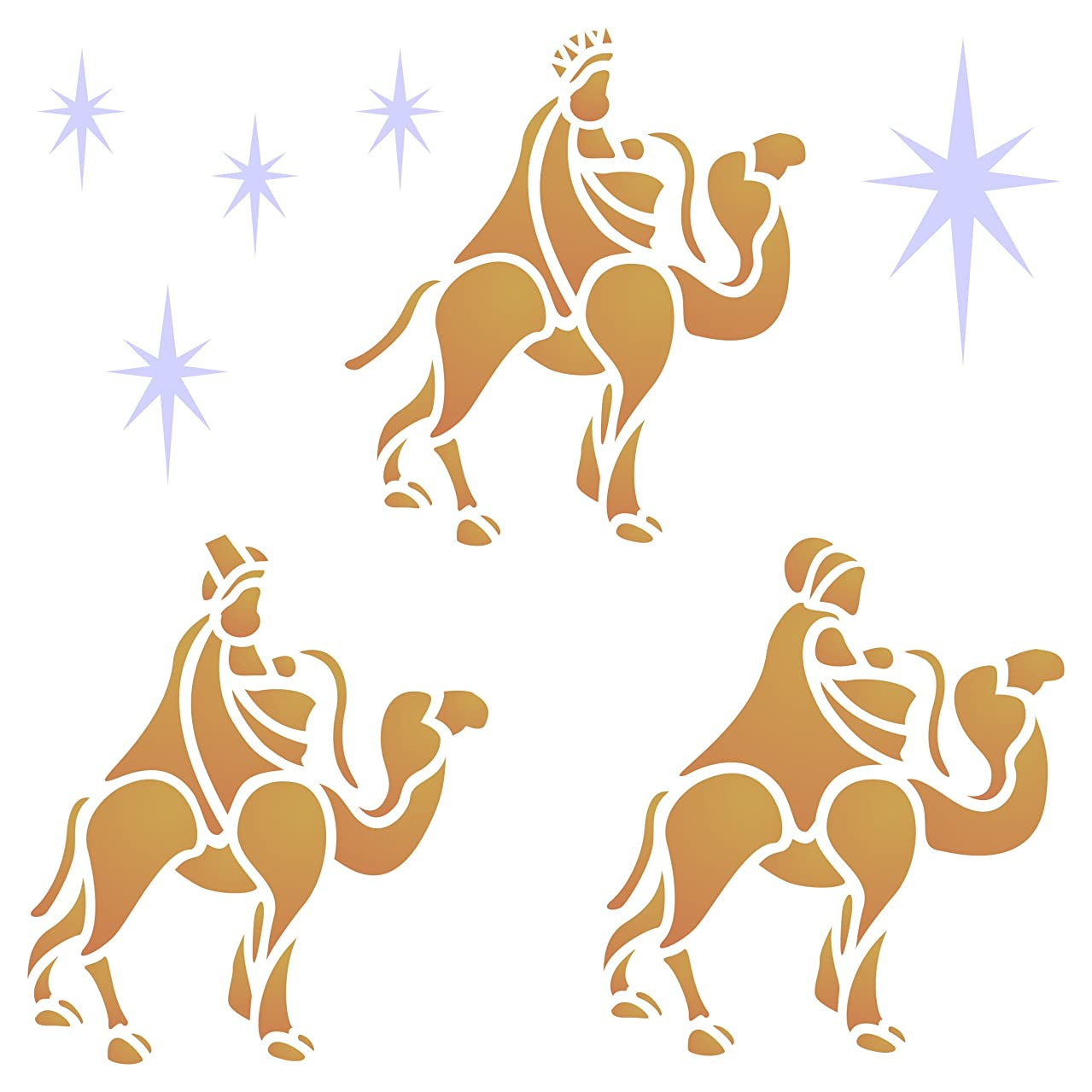Wise Men Stencil - 8.5 x 8.5 inch (L) - Reusable Christmas Nativity Wall Stencils for Painting - Use on Paper Projects Walls Floors Fabric Furniture Glass Wood etc.