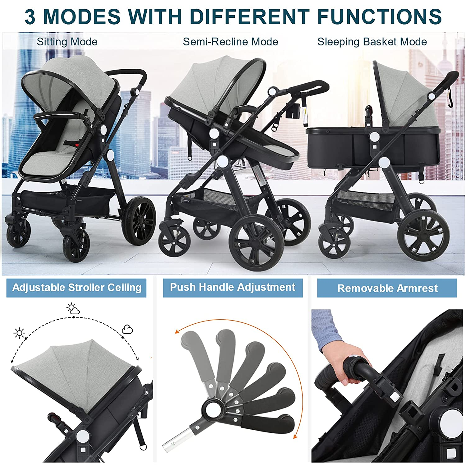 Newborn Infant Toddler Baby Stroller - Sleeping & Sitting Mode 2 in 1 All Terrain High Landscape Shock Absorption Sunshade Comfortable Baby Car for 0-36 Months Old Babies
