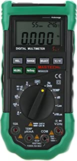 MASTECH MS8229 Auto Range Multimeter & Temperature Humidity Light Lux Sound Level Meter Tester 5 in 1 with Back Light