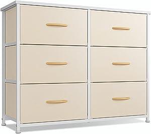 CubiCubi Dresser for Bedroom, 6 Drawer Storage Organizer Tall Wide Dresser for Bedroom Hallway, Sturdy Steel Frame Wood Top, Greige