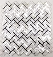 Vogue Tile Genuine Natural Mother of Pearl Oyster Herringbone Shell Mosaic Tile with Backing for Kitchen Backsplashes, Bathroom Walls, Floor Tile, Spas, Pools