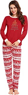 Ekouaer Women's Pajamas Soft Christmas 2 Pieces Top and Pants Sleepwear Pjs Set