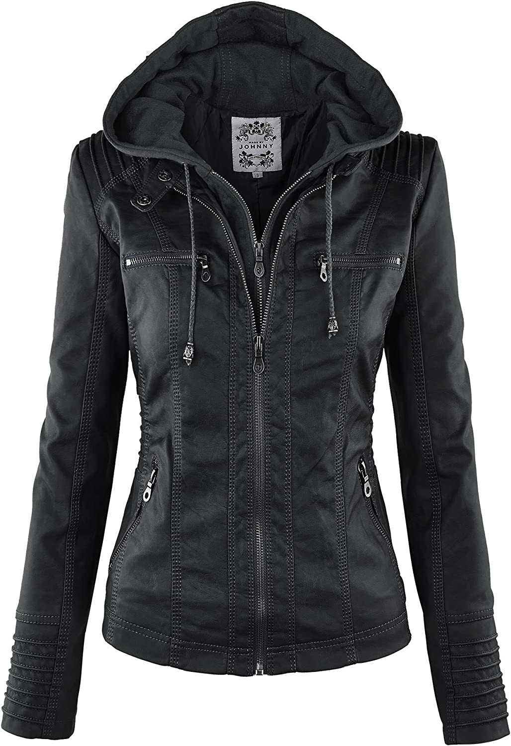 Made By Johnny MBJ Womens Faux Max 74% OFF Max 45% OFF Ho Leather Jacket Motorcycle with