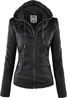Best MBJ Womens Faux Leather Motorcycle Jacket with Hoodie Review