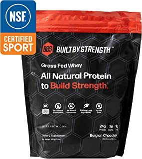 BuiltByStrength Grass Fed Whey Protein - NSF Certified All Natural Belgian Chocolate Whey Isolate Protein Powder - Tastes Great and Dissolves Easily in Coffee - Non GMO and Gluten Free (30 Servings)