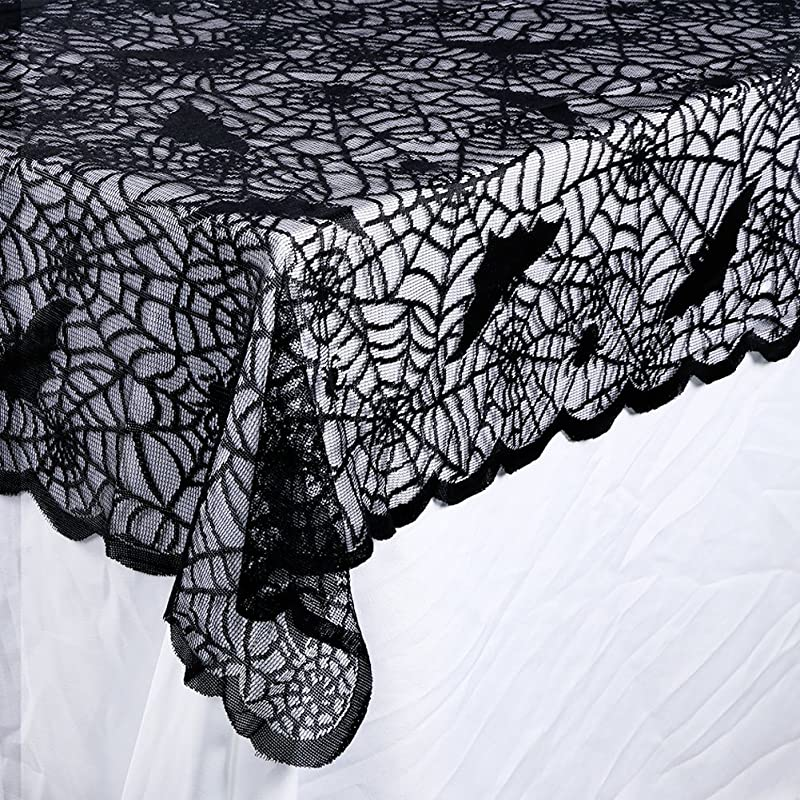 OurWarm Halloween Tablecloth Rectangular Polyester Lace Tablecloth Black Spider Web Tablecover For Scary Movie Nights Halloween Table Decorations 60 X 84 Inch