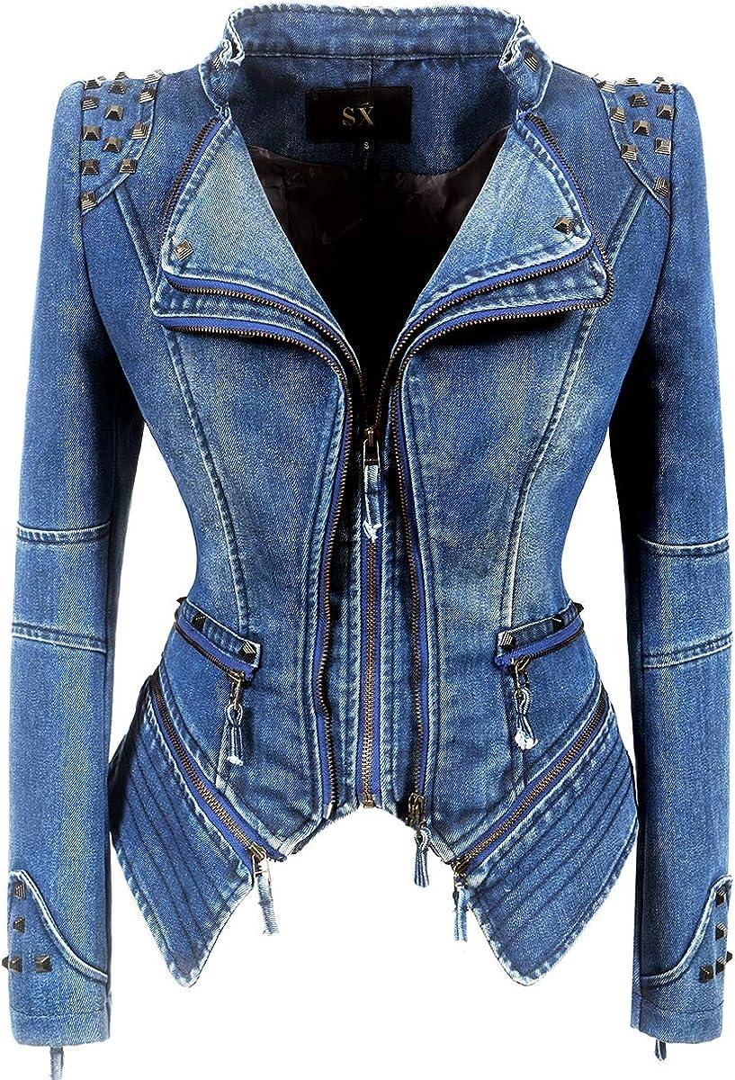 XUJIN Women's Faux Leather Slim Moto Biker Rivet Short Jacket (3XL, Blue)