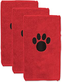 Bone Dry Pet Drying Collection Embroidered Terry Microfiber, Pet Towel Small Set, 15x30, Red, 3 Count