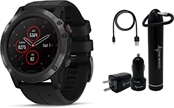 Garmin Fenix 5X Plus Sapphire Premium Multisport GPS Watch with Maps, Music and Contactless Payments and Wearable4U Ultimate Power Pack Bundle (Sapphire/Black with Black Band)