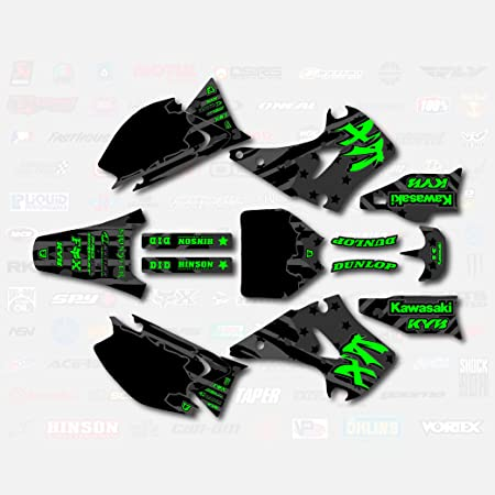 2-STROKE Compatible with Kawasaki Podium Black Complete Senge Graphics kit 1999-2002 KX 125//250