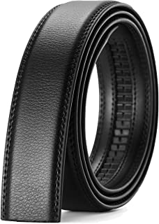 Men Ratchet Belt Strap 35mm Wide, Replacement Leather for Automatic Slide Buckle