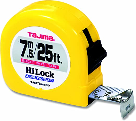 SAE /& Metric Scale 16ft//5m x 1 inch Sigma Stop Measuring Tape with Acrylic Coated Auto Locking Blade /& Safety Belt Holder TAJIMA Tape Measure SSSF-16//5MBW