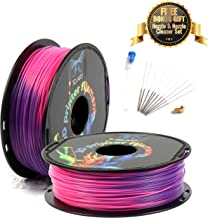 3D Art Professional Printing Filament - 1.75mm ±0.03mm PLA Material for 3D Printer - Super Strength 1kg Spool with Nozzle - No Bubbles, Blob, or Jams - Thermochromic Color Change - Purple to Red