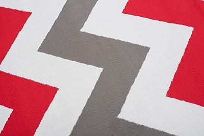 TAPISO Maya Tapis de Salon Moderne pour Salon, Rouge, Blanc, géométrique, Zigzag à Poils Courts, 140 x 200 cm