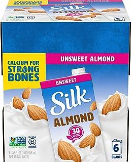 Silk Shelf-Stable Almondmilk, Unsweetened, Dairy-Free, Vegan, Non-GMO Project Verified, 1 Quart (Pack of 6) (ASINPPOSPRME3...