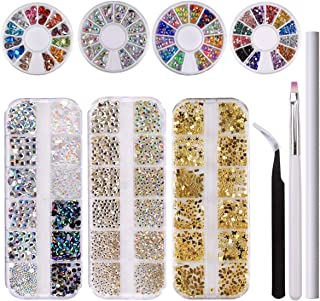Makartt 3200 PCS Rhinestones Nail Art Kit, 3D Crystals for Nails, Gold Various Gems, Pick up Tweezers, Wax Pencil, Nail Brush, S-08