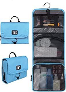 BAGSMART Hanging Travel Toiletry Bag Cosmetic Carryon Case Folding Makeup Organizer with Breathable Mesh Pockets Black