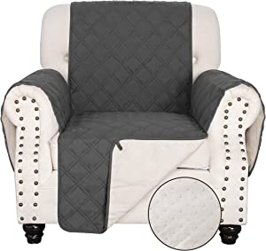TOMORO 100% Waterproof Chair Sofa Cover for Dogs, Kids and Pets - Non Slip Quilted Sofa Slipcover Furniture Protector with 5 Storage Pockets, Couch Cover Fits Seat Width Up to 23 Inch, Dark Gray