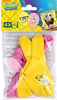 Amscan 999223 - Globos de látex (6 unidades), diseño de Bob Esponja, color rosa y amarillo , color/modelo surtido