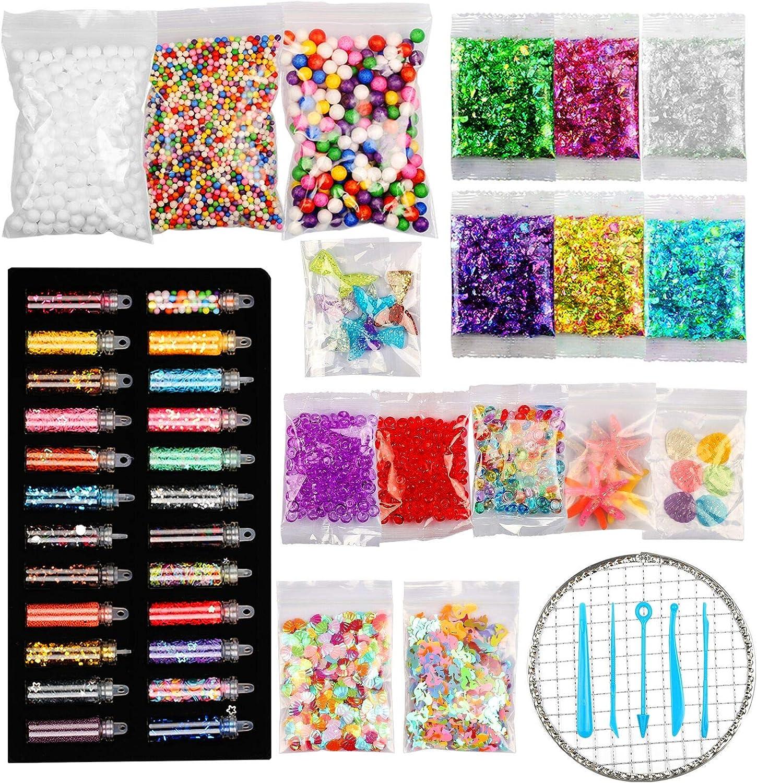 BELIOF 62 piezas Slime Kit para niños Juguetes Slime Componentes adicionales Siren Beads Bolas de espuma Seashell Glitter Lentejuelas Candy Confetti Diy Glitter Slime