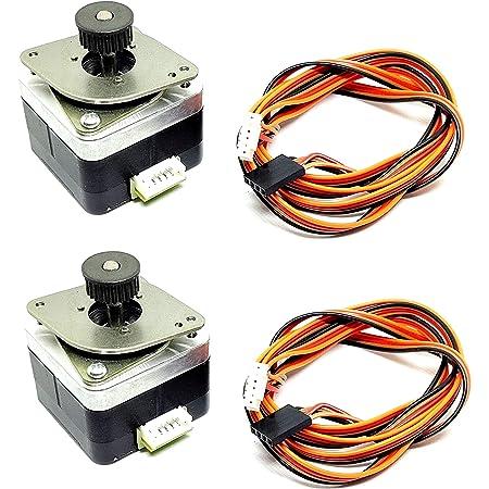 INVENTO 2Pcs Nema 17 4 Kg cm Bipolar Stepper Motor with 24 teeth GT2 Pulley for CNC Robotics RepRap 3D Printer