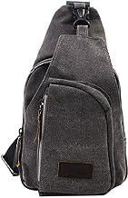PsmGoods Männer Umhängetasche Freizeit-Segeltuch-Taschen Reisen Wandern Tasche Rucksack Chest Pouch Sling Grau Groß