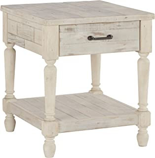 Ashley Furniture Signature Design - Shawnalore Casual Rectangular End Table with Storage - White Wash