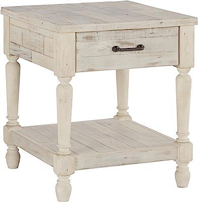 Signature Design by Ashley Shawnalore Farmhouse Solid Pine Wood End Table, Weatherworn White Finish