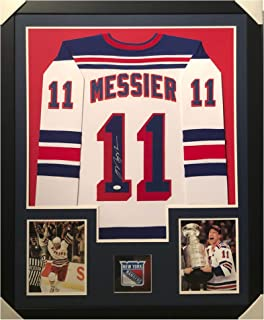 Mark Messier Autographed Hockey Jersey - Framed New York White Custom - Hand Signed & JSA Authenticated