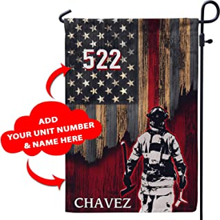 Personalized Firefighter Patriot Pride American Garden Flag Customized Patriotic Volunteer Firefighting Gifts for Dad Husband Boyfriend Grandpa Son from Wife Girlfriend Mom Daughter (12x18)