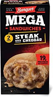 Banquet Mega Sandwiches Steak & Cheddar Frozen Meals, 2-Count 10 oz.