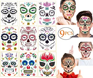 Halloween Day of the Dead Face Tattoo Halloween Face Temporary Tattoo Sugar Skull Water Transfer Stickers Face Makeup Props for Women Men Adult Kids Boys Halloween Party Favor Supplies(9 Sheet)
