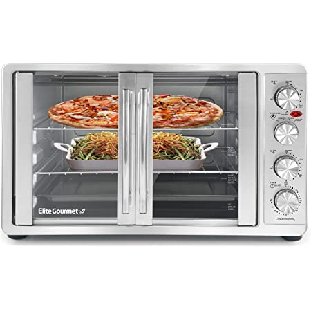 """Elite Gourmet ETO-4510M Double French Door Countertop Convection Toaster Oven, Bake Broil Toast Rotisserie Keep Warm 12""""-14"""" pizza 2 Racks, 18-Slice, 45 L, Stainless Steel & Black"""