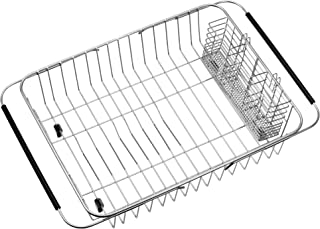 iPEGTOP Expandable Dish Drying Rack with Rustproof Stainless Steel Utensil Cutlery Holder, Over Sink Dish Rack Basket Shel...
