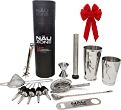 Professional Bartender Kit | Cocktail Shaker Set (14-Piece)| Bar Set with Bottom Weighted Stainless Steel Drink Shakers - ...