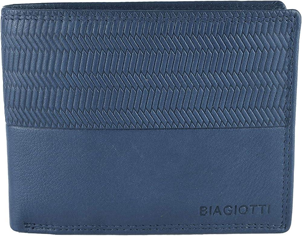 Laura biagiotti uomo, portafoglio , porta carte di credito in vera pelle, Blu 21s-764