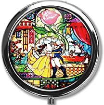 Hanbalin - Beauty and The Beast Custom Round Silver Pill Box Pocket 2.1 inches Medicine Tablet Holder Organizer Case for P...