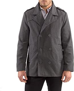 alpine swiss Jake Mens Wool Pea Coat Double Breasted Jacket