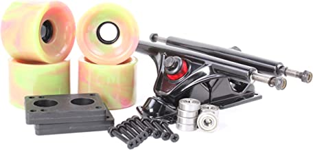 65mm 78a Pink and Green Longboard Wheels and Black Reverse Kingpin Truck Combo Set