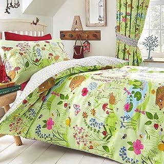 Kids Club Bluebell Woods Duvet Cover & Pillowcase Bed Set for Kids, Green, Single