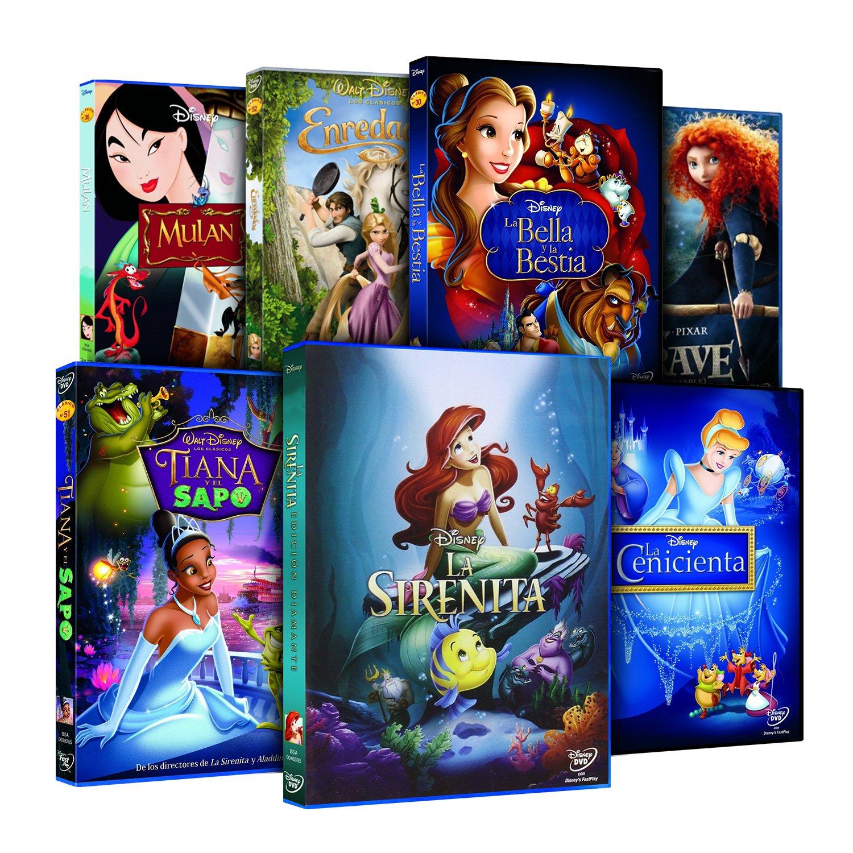 Pack Princesas Disney (La Sirenita + Enredados + Mulán + Tiana Y El Sapo + Bella Y Bestia + La Cenicienta + Brave) [DVD]