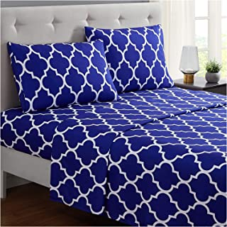 Mellanni Bed Sheet Set Full-Imperial-Blue - Brushed Microfiber Printed Bedding - Deep Pocket, Wrinkle, Fade, Stain Resistant - 4 Piece (Full, Quatrefoil Imperial Blue)